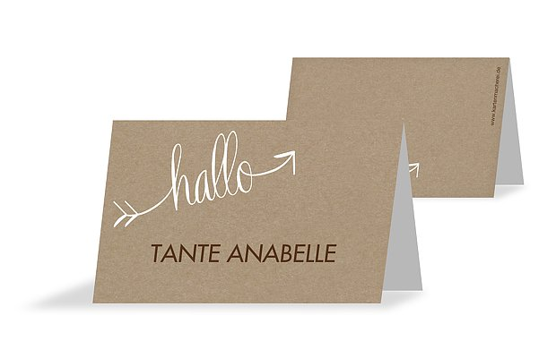 Tischkarte Hochzeit Liebespfeil Kraftpapier