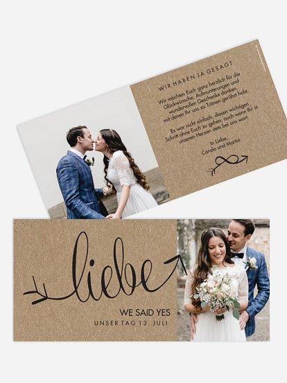 Wir haben geheiratet Karte Liebespfeil Kraftpapier