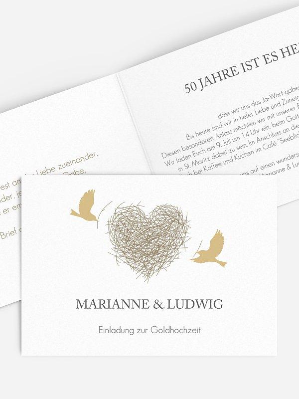 Einladung zur Goldenen Hochzeit Liebesnest
