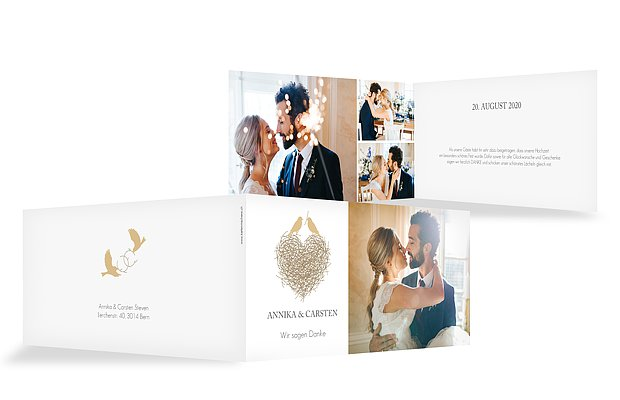 Dankeskarte Hochzeit Liebesnest