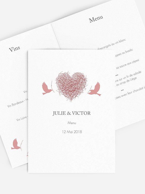 Menu mariage Amour poétique
