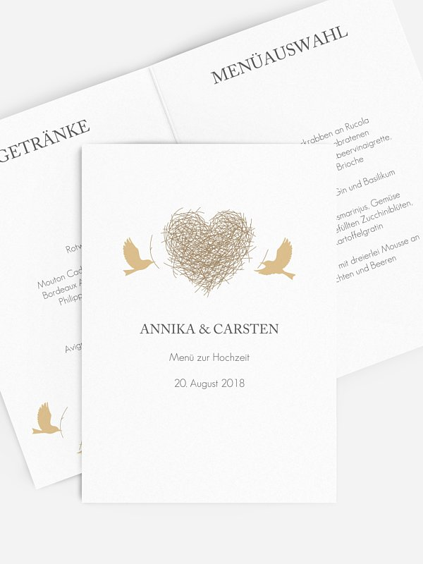Menükarte Hochzeit Liebesnest