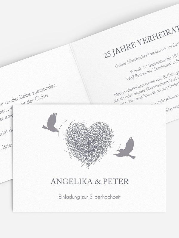Einladung zur Silberhochzeit Liebesnest