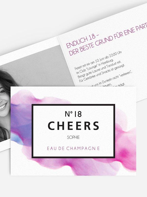 Einladung 18. Geburtstag Eau De Champagne