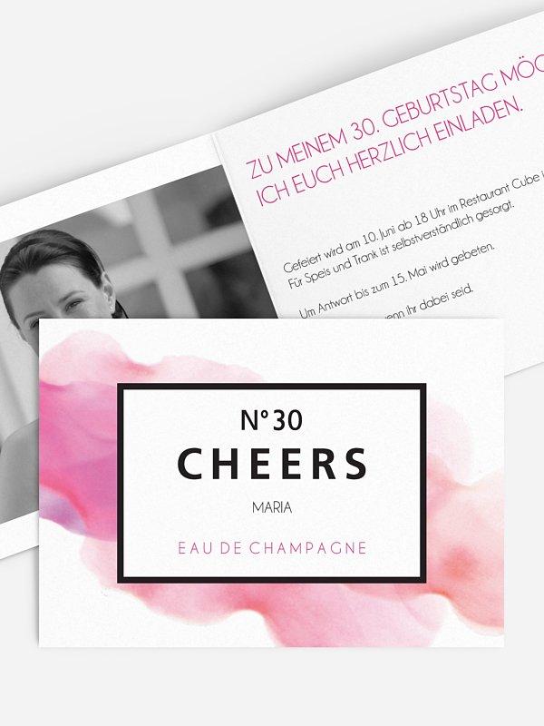 Einladung 30. Geburtstag Eau De Champagne