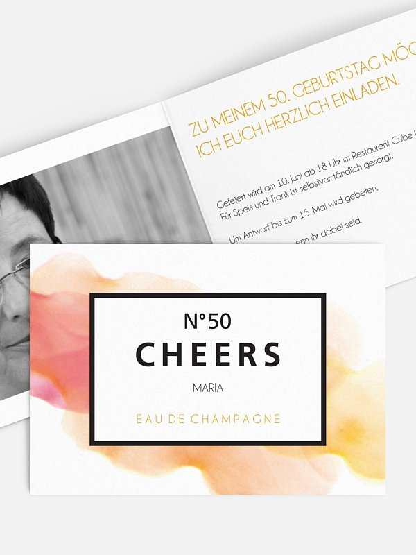Einladung 50. Geburtstag Eau De Champagne