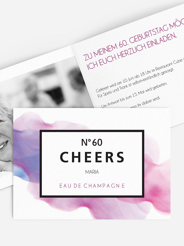 Einladung 60. Geburtstag Eau De Champagne