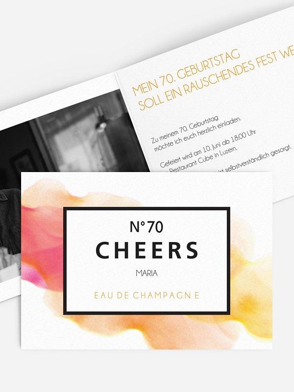 Einladung 70. Geburtstag Eau De Champagne