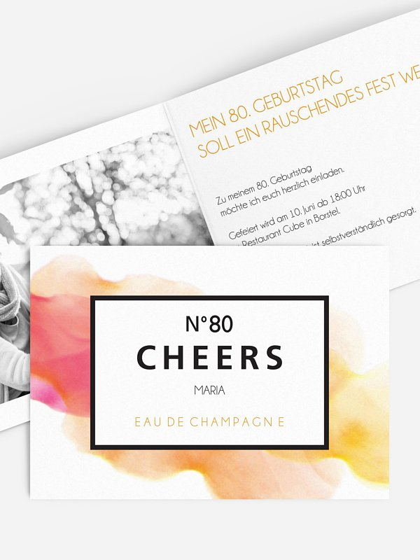 Einladung 80. Geburtstag Eau De Champagne