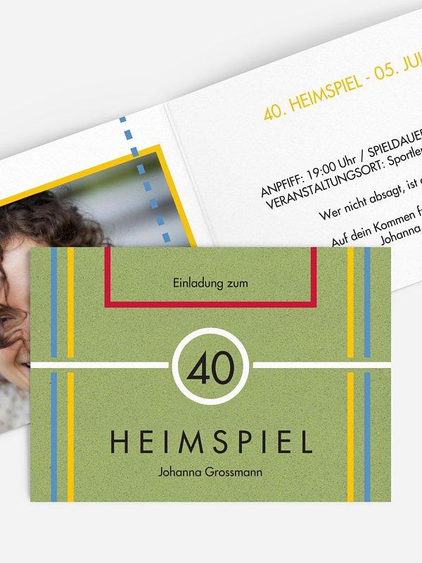 Einladung 40. Geburtstag Heimspiel