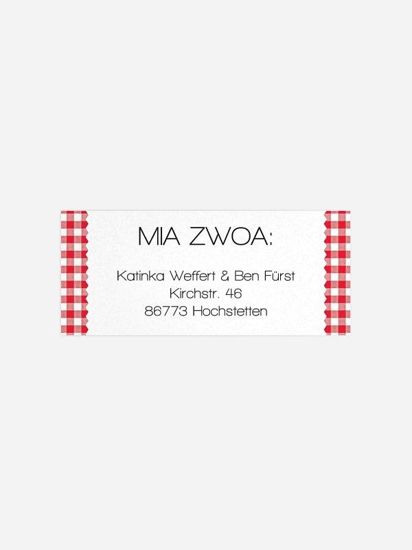 Absenderaufkleber Hochzeit Mia Zwoa