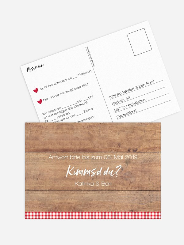 Antwortkarte Hochzeit Mia Zwoa