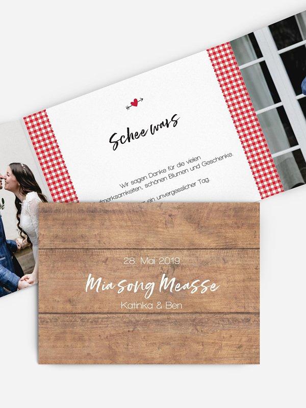 Dankeskarte Hochzeit Mia Zwoa