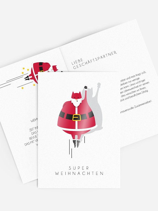 Geschäftliche Weihnachtskarte Super Weihnachten