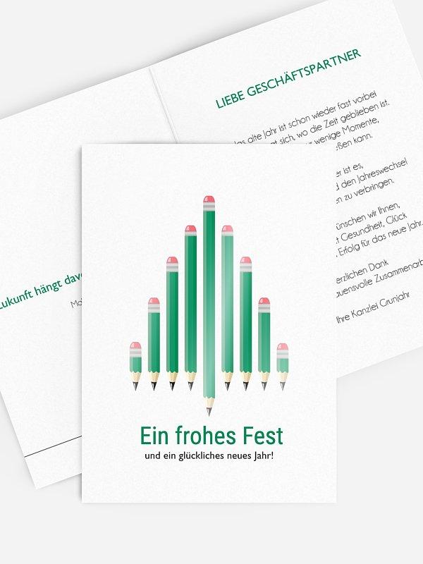 Geschäftliche Weihnachtskarte Pen Tree