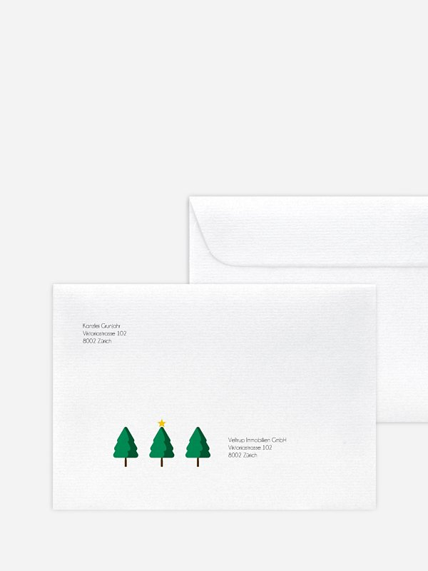 Bedruckte Umschläge geschäftl. Weihnachten Yoga Baum