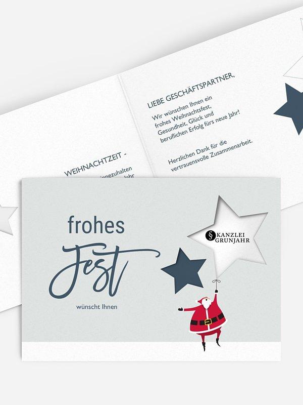 Geschäftliche Weihnachtskarte Enjoy (gestanzt)