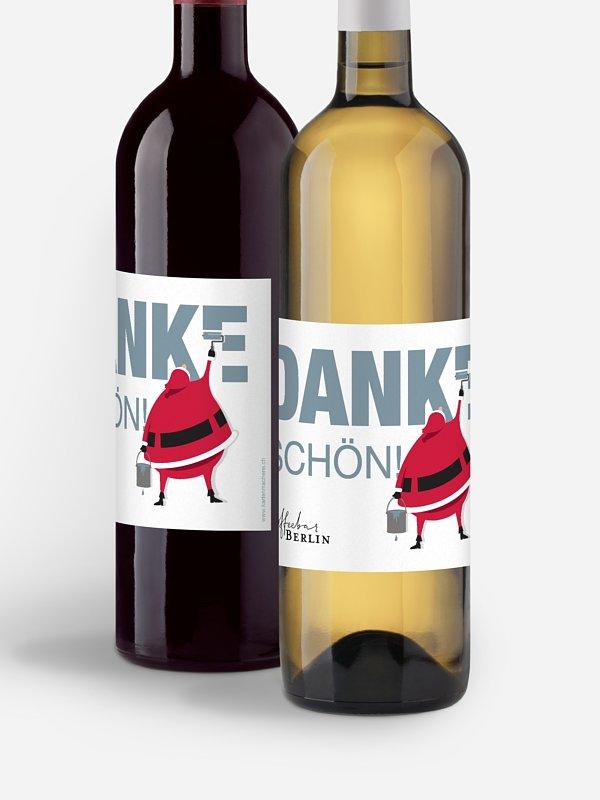 Flaschenetikett geschäftlich Farbenfrohe Weihnachten Mitarbeiter