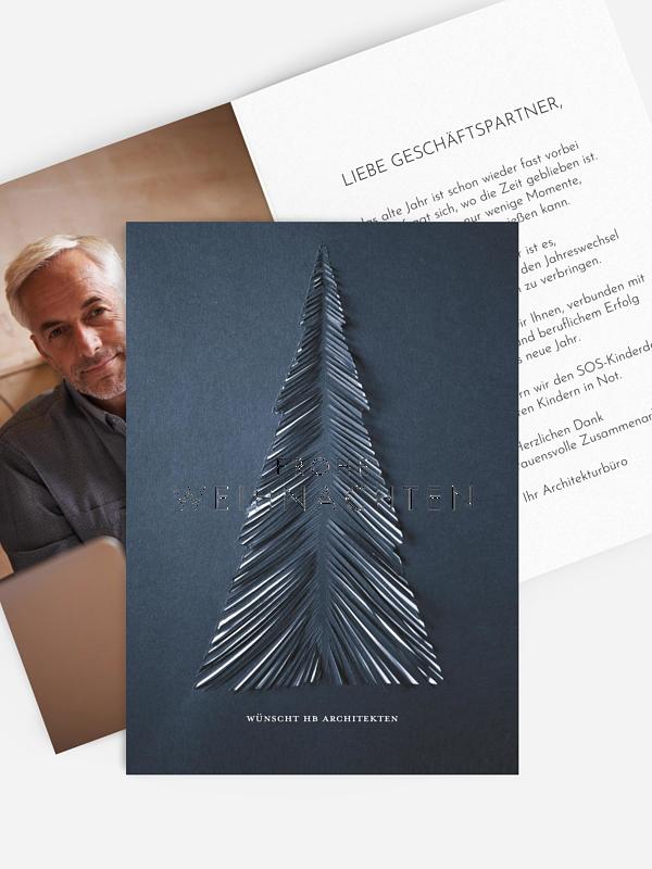 Spendenkarten Geschäftlich Papiertannenbaum