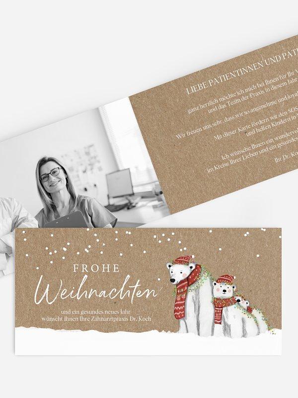 Spendenkarten Geschäftlich Eisbärenfamilie Kraftpapier