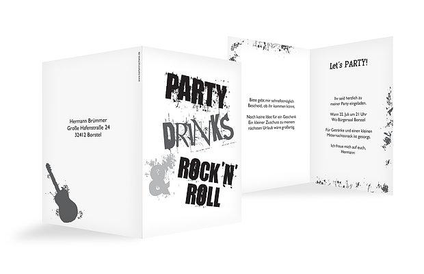 Partyeinladung Rock N Roll