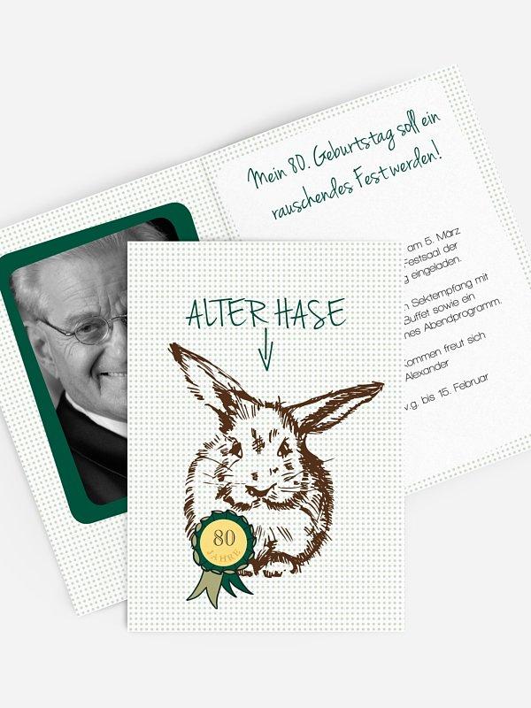 Einladung 80. Geburtstag Alter Hase