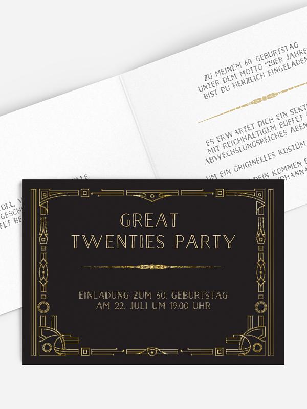 Einladung 60. Geburtstag Golden Twenties