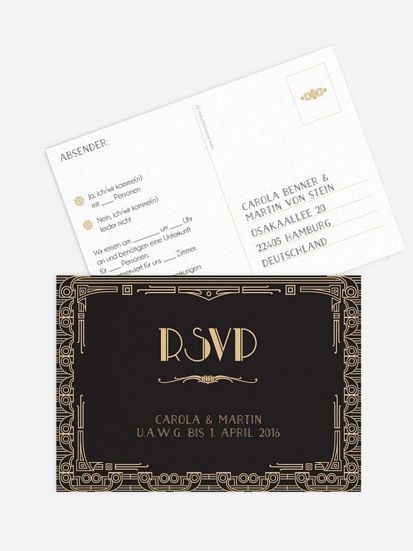 Antwortkarte Hochzeit Golden Twenties