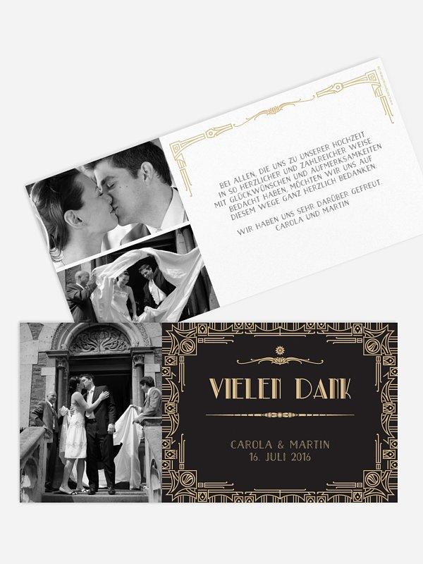 Dankeskarte Hochzeit Golden Twenties