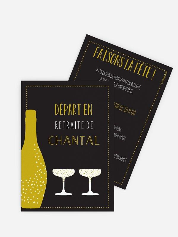 Carte invitation départ retraite Champagne