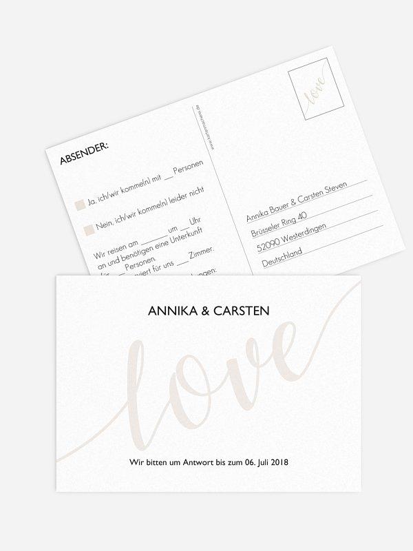Antwortkarte Hochzeit Only Love