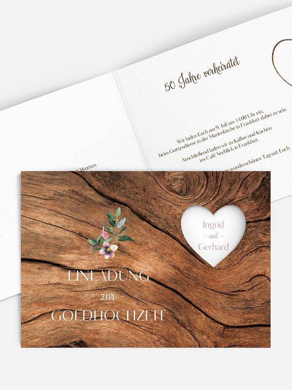 Einladung zur Goldenen Hochzeit Rustic Bloom