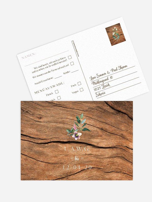 Antwortkarte Hochzeit Rustic Bloom
