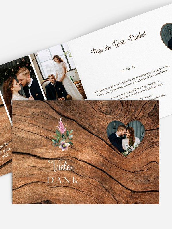Dankeskarte Hochzeit Rustic Bloom (gestanzt)