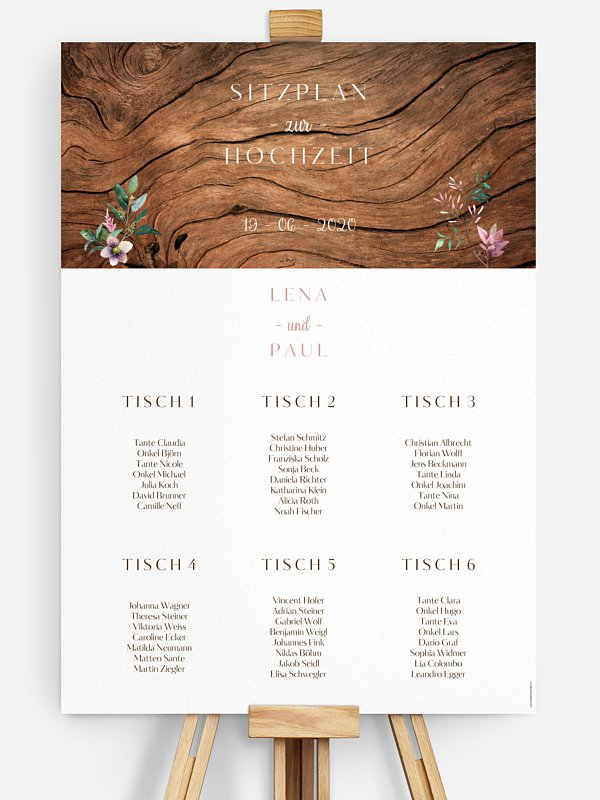 Sitzplan Plakat Rustic Bloom