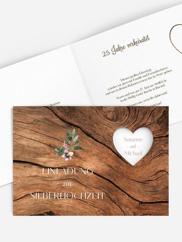Einladung zur Silberhochzeit Rustic Bloom