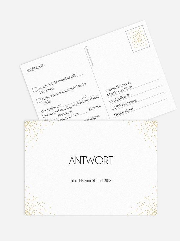 Antwortkarte Hochzeit Glitterregen