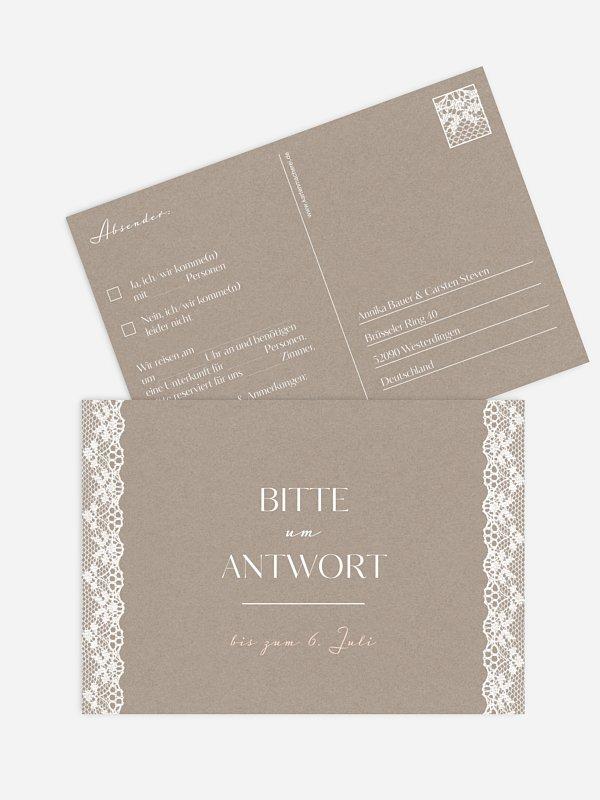 Antwortkarte Hochzeit Spitzenband