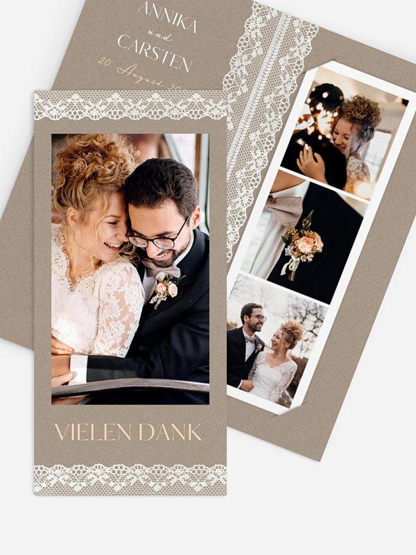 Dankeskarte Hochzeit Spitzenband