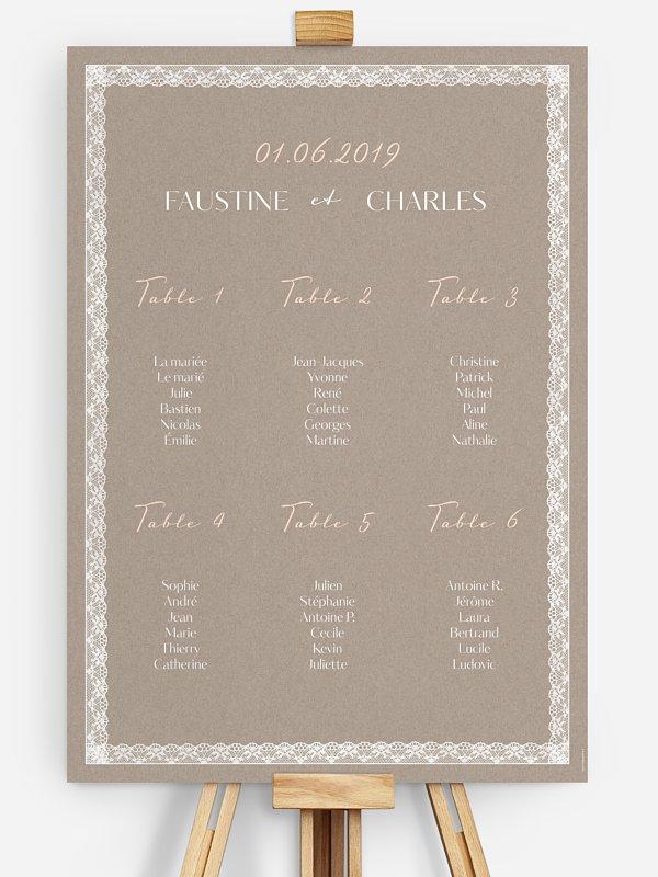 Poster plan de table mariage Bandeau de dentelle