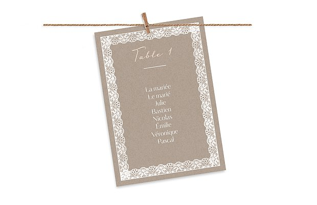 Cartons plan de table mariage Bandeau de dentelle