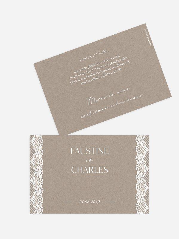 Carton d'invitation Bandeau de dentelle