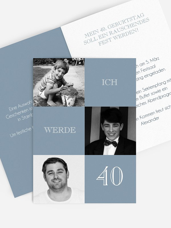 Einladung 40. Geburtstag Bildergeschichte