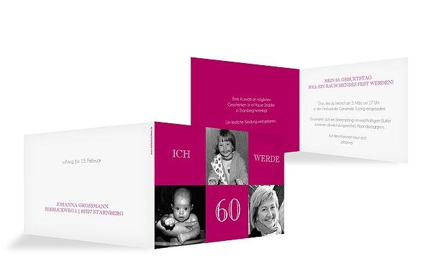 """Einladung Zum 60 Geburtstag Frau: Einladungskarten 60. Geburtstag """"Bildergeschichte"""""""