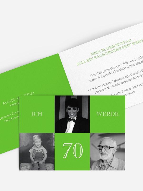 Einladung 70. Geburtstag Bildergeschichte