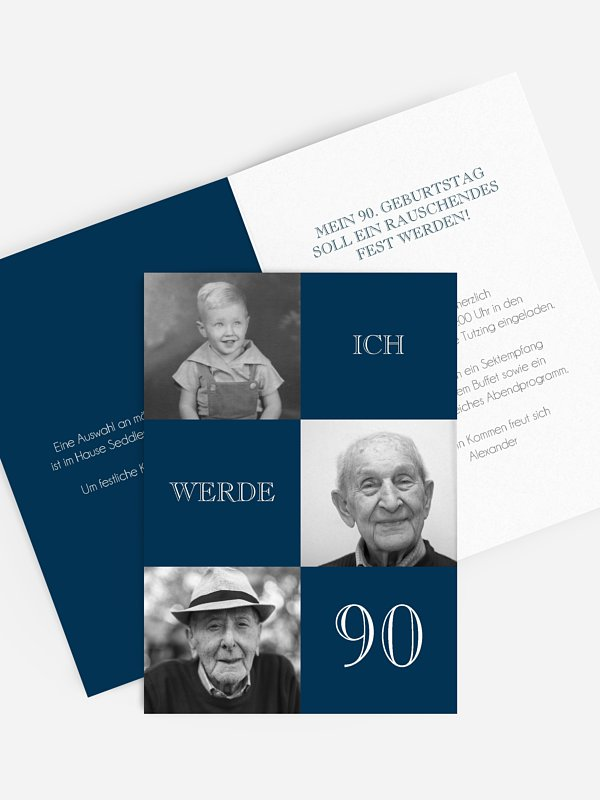 Einladung 90. Geburtstag Bildergeschichte