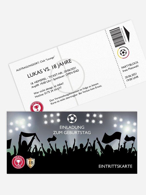 Einladung 18. Geburtstag Fußballticket
