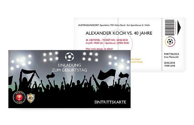 """Einladungskarten Geburtstag 40 Einladungskarten 40: Einladungskarten 40. Geburtstag """"Fußballticket"""""""