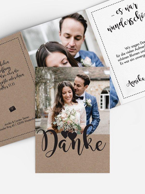 Dankeskarte Hochzeit Piktogramm