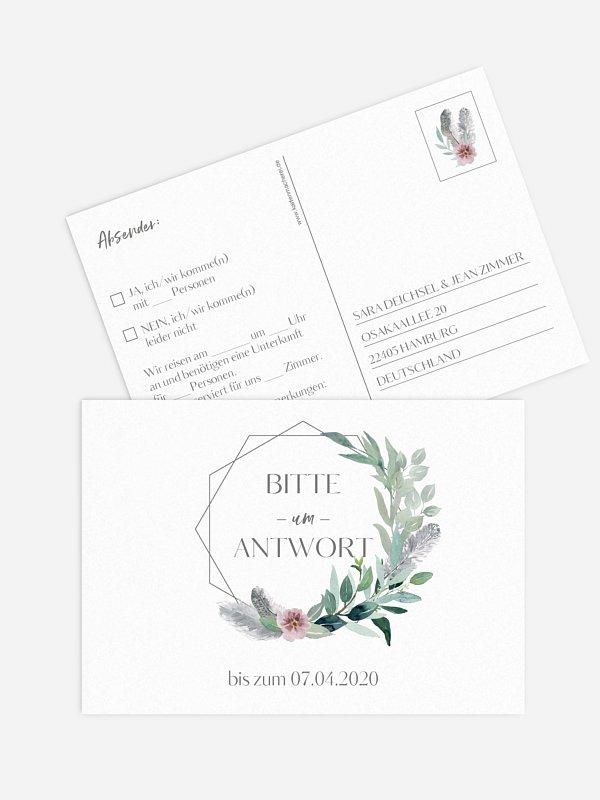 Antwortkarte Hochzeit Boho Dreams